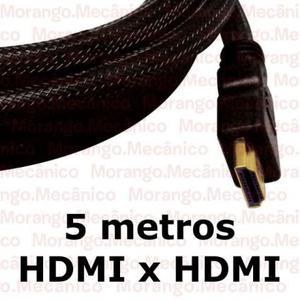 F%-Cabo HDMI 1.4 3D Gold Flat (chato) 5 metros com Malha