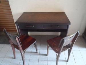 Mesa retrô escritorio e escrivaninha em Imbuia com 2