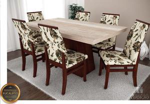 Jogo de mesa grécia retangular com 6 cadeiras veneza