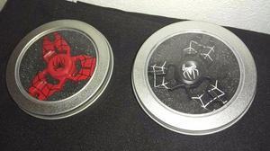 2 Spinners homem aranha vermelho e preto de metal, com