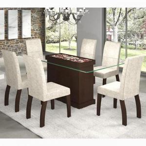 Conjunto Para Sala De Jantar Mesa E 6 Cadeiras Viero Vegas