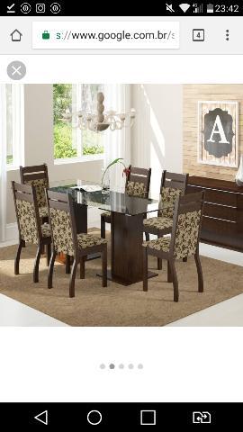 Conjunto de Mesa com 6 cadeiras de Jantar Marselha