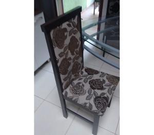 mesa de vidro 6 cadeiras usado