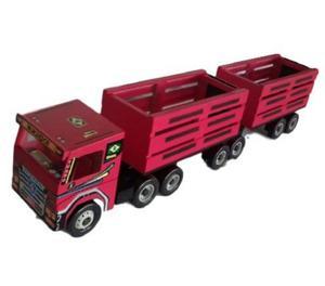 Brinquedo - Carreta Scania Bitrem Vermelha Boiadero