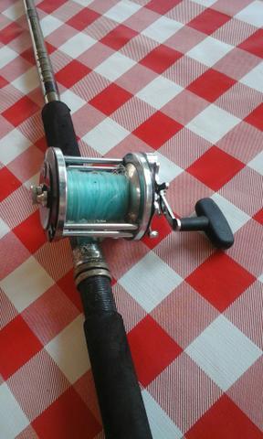 Carretilha+linha pesca