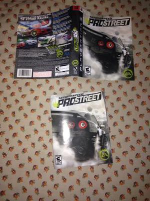 Encarte e manual originais Need for speed pro street