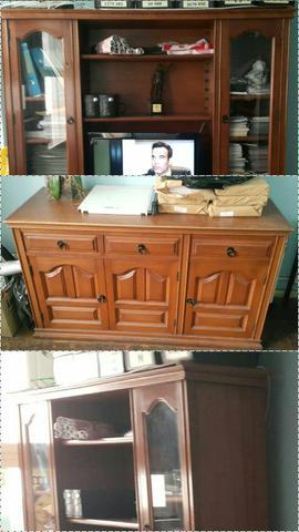 Conjunto de estante e serviço em madeira maciça