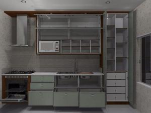 Cozinha planejada em madeira maciça, lavável