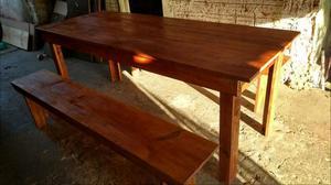 Fç mesa de madeira com banco