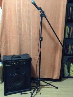 Caixa De Som, Pedestal E Microfone Com Cabo