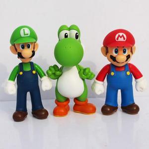3 pçs/set Yoshi Super Mario Bros Luigi Mario Ação PVC toy