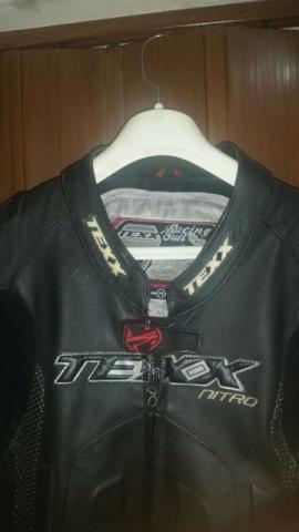 Macacão Texx Nitro Evolution Couro Moto 1 Peça Preto