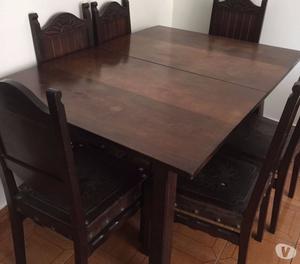 Mesa de jantar de madeira de lei mexicana