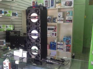 Caixa amplificada torre bluetooth com microfone e controle