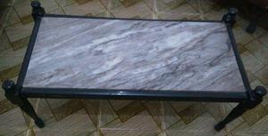 Mesa de centro em madeira de lei e mármore cinza
