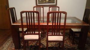 Mesa de jantar mogno c 6 cadeiras