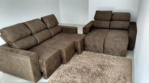 Sofa 2 e 3 lugares retrátil inteiro e encosto zero novo -