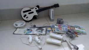 Nintendo Wii destravado + jogos + controles + guitarra