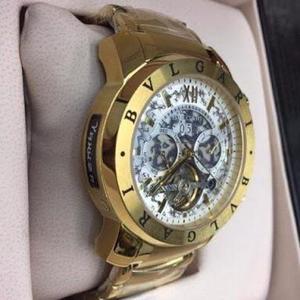 Relógio masculino automático bvlgari dourado c   Posot Class cb6534d728