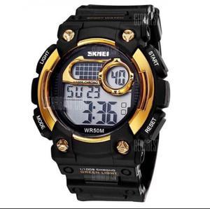 Relógio digital Skmei dourado novo