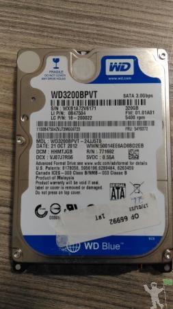 HD WESTERN DIGITAL WD BLUE 320GB RPM SATA WDBPVT