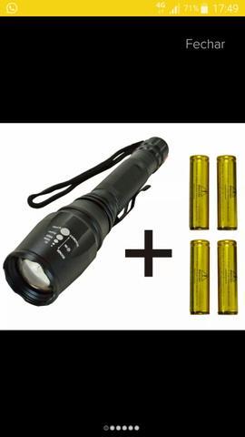 Lanterna tática cree T6 + 4 baterias. Boquim