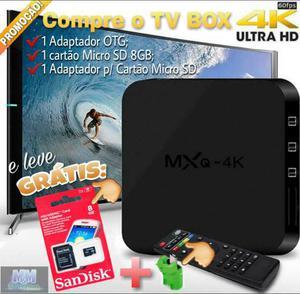 TV Box MXQ 4K (+3 BRINDES); Cartão micro SD 8GB + Adpt. p/