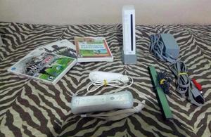 Nintendo Wii Bloqueado semi novo + 1 controle + 3 jogos