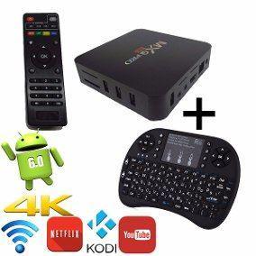 Kit tv box + mini teclado sem fio