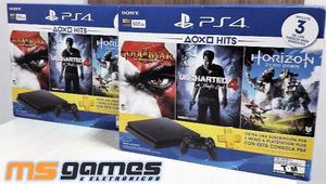Ps4 Slim 500GB C/3 jogos Exclusivos Fisicos e 3 Meses de Psn