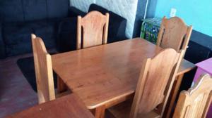 Promoção mesa com 4 cadeira de madeira angelim entrega
