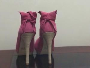Sandália de Salto Alto - Rosa com laço