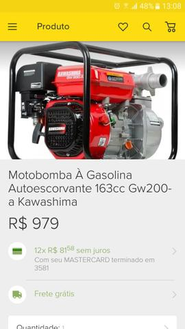 Motobomba à gasolina 163 cc