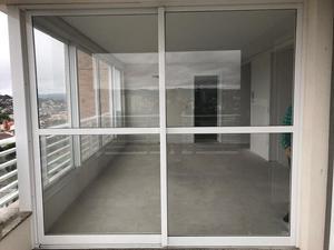 Porta de correr de Alumínio Branco com vidro de 8mm - Linha