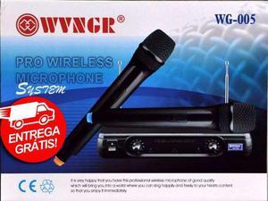 Microfone Duplo Sem Fio Profissional Vhf Wg-005 - Bivolt -