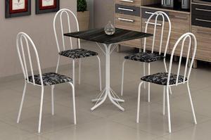 Mesa 4 cadeiras // aço pedra de ardosia