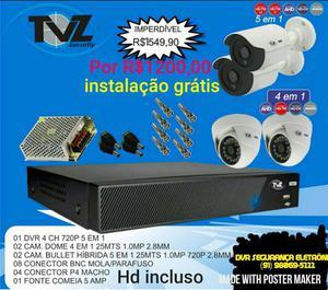Promoção kit 4 câmeras hd acesso celular