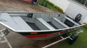 Barco de Alumínio, borda alta, frente semi chata