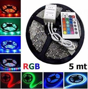 Fita de led colorida RGB com controle + fonte lacrada