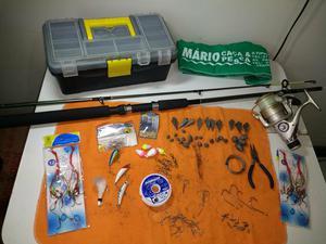 Kit completo de pesca, vara, molinete e todos acessórios