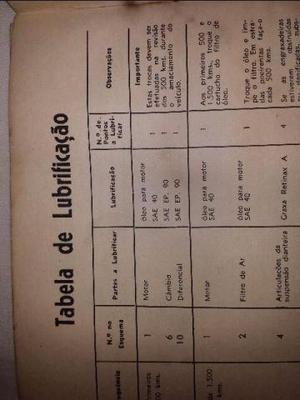 Manual de Garantia do Proprietário do Simca Chambord; para