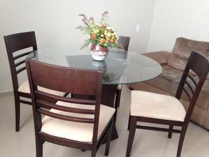 Mesa 4 Cadeiras e Tampo de Vidro + Sofá 2 Lugares