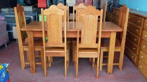 Mesa com 6 cadeira de madeira angelim entrega grátis