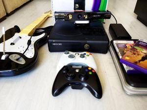 Xbox 360 Destravado c/ Kinect, + de 40 jogos e uma Guitarra.