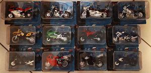Coleção Lote Com 12 Miniaturas Motos + Fascículos +