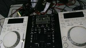 Kit Dj Profissional Par de Cdj 350 Pioneer + Mixer Behringer