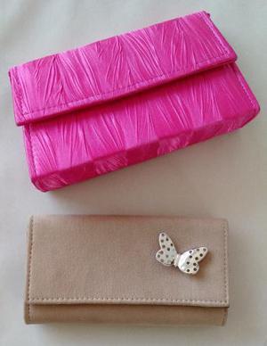 Bolsa de mão para festas, em tecido, forradas, com alças,