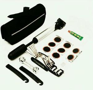 Kit de ferramenta e reparo de pneu de bicicleta, com bomba
