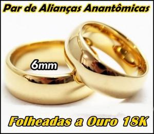 Par de Alianças Anatômicas Folheadas a Ouro