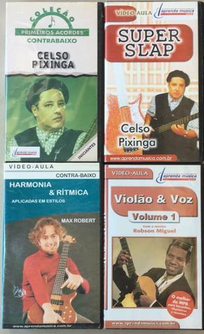 4 Fitas VHS Aulas de contrabaixo e violão